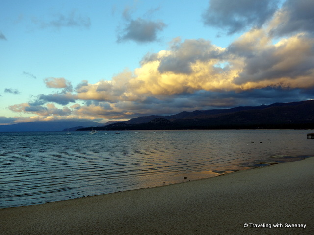 """Sunrise view from Tahoe Lakeshore Lodge and Spa, South Lake Tahoe"""