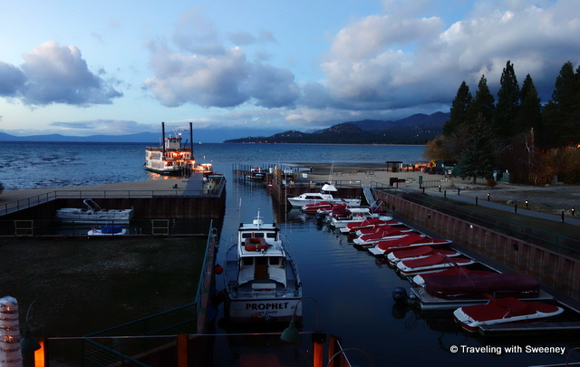 """View of boats and dock at Riva Grill, South Lake Tahoe"""