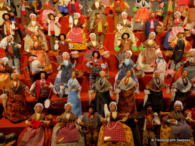 An important Christmas tradition in Provence -- Colorful secular santons depicting characters of everyday 19th-century life at the Foire aux Santons in Marseille, France