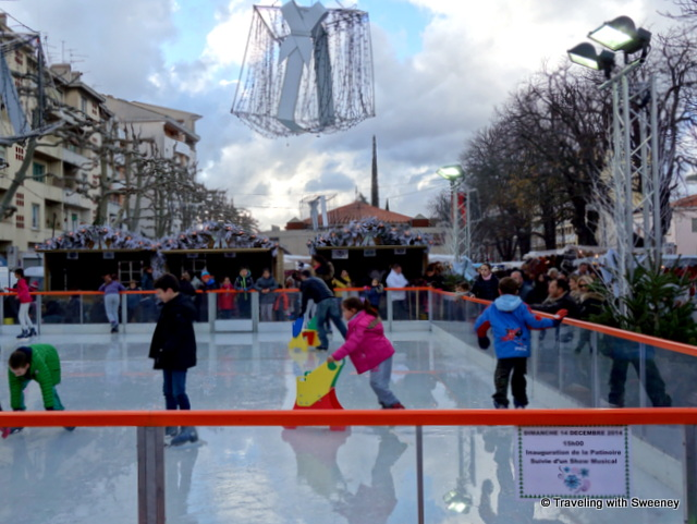 Ice skating at a Christmas market in Aubagne, France