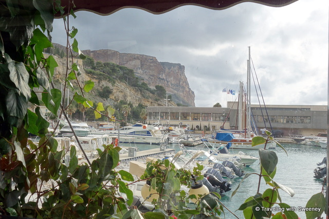 """View from a table at La Vielle Auberge, Cassis, France"""
