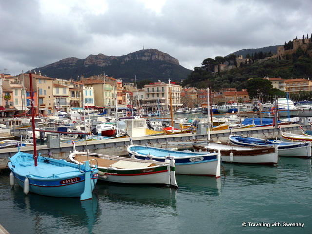 """On Quai Barthélemy, colorful boats in the harbor of Cassis"""