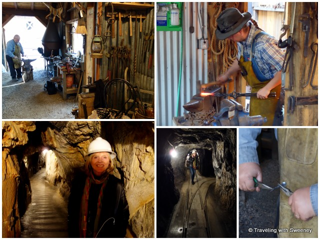 """On the mine tour at Gold Bug Mine and watching the blacksmith at work in the stamp mill at Gold Bug Park and Mine, Placerville, California"""