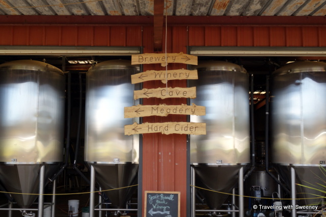 """Turn right for the brewery, left for the winery at Jack Russell Farm Brewery, Camino, California"""