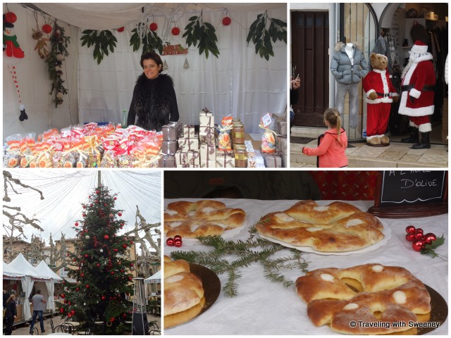 Santa Claus and chalets with crafts and traditional foods at the Christmas market in Cassis