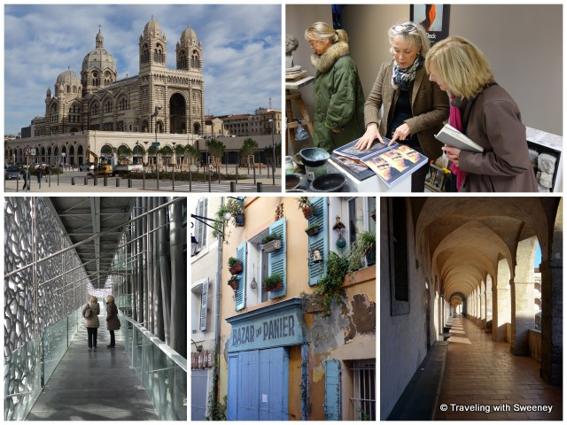 """Marseille Cathedral, Le Panier artist Lisa Deck, corridor of La Vieille Charité, shop in Le Panier, and MuCEM"""