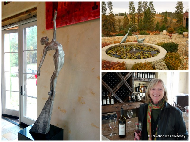 """Miraflores tasting room art and fountain on the terrace, Placerville, California"""