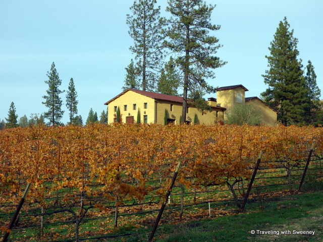 """The Mediterranean-style tasting room of Miraflores Winery surrounded by estate vineyards in El Dorado County, California"""
