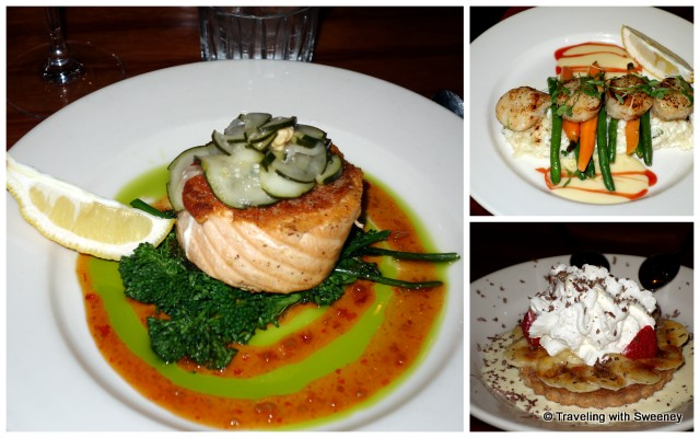 """Pan-seared Wild King Salmon, Seared Diver Scallops, and Banana Cream Pie at Riva Grill, South Lake Tahoe"""