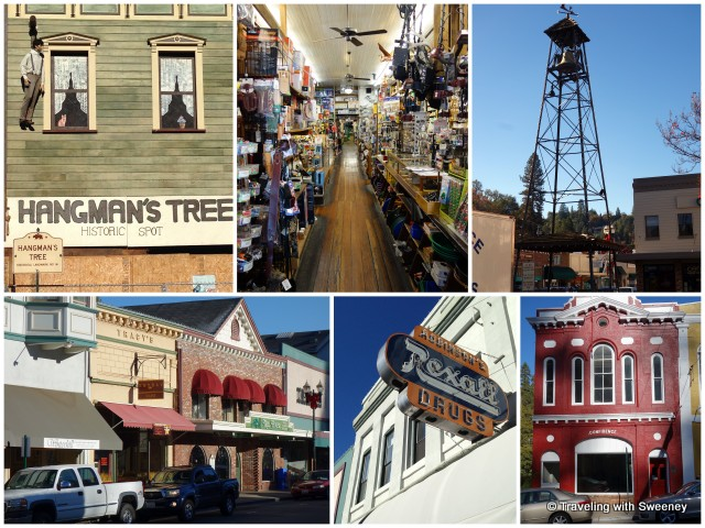 """Main Street in historic downtown Placerville: Hangman's Tree landmark, Placerville Hardware, volunteer fireman's bell tower, and Robinson's Pharmacy"""
