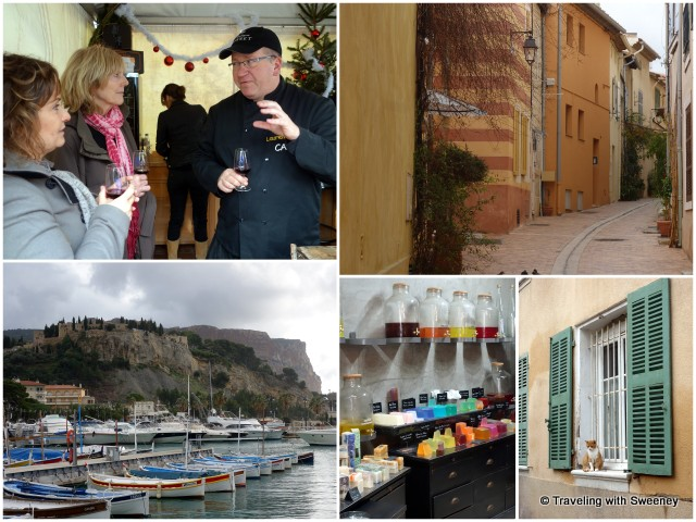 """Narrow streets of Cassis lined with colorful houses, shops, and restaurants"""