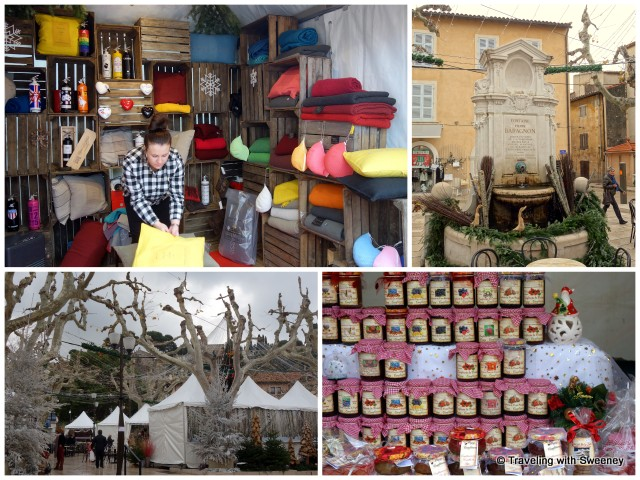 """Place Baragnon -- Fountain and Christmas Market in Cassis, France"""
