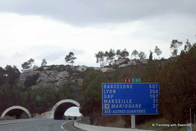 """Road sign on our way from Cassis to Marseille"""