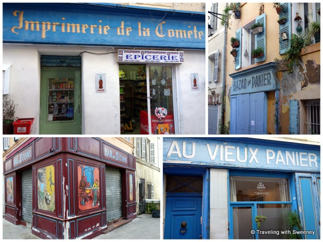 """Colorful facades of shops and inns in Le Panier, Marseille, France"""
