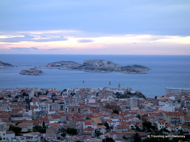 View of the Iles du Frioul and sailboats on the Mediterranean from the hightest point in Marseille, La Garde.