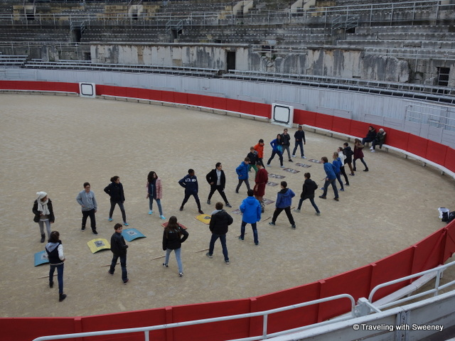 Students learn gladiator techniques at the Roman Ampitheater in Arles, France
