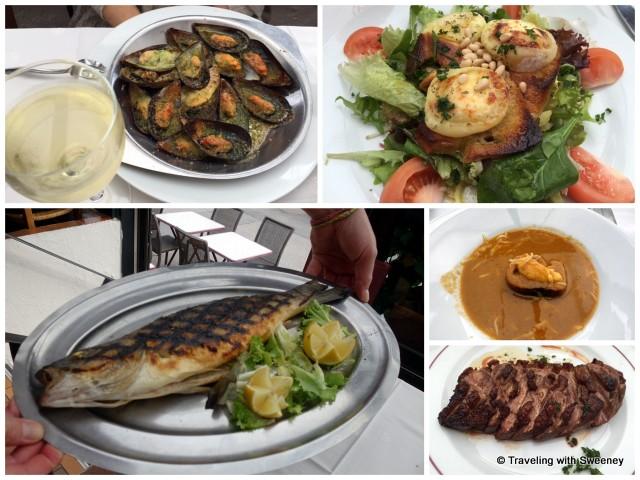 """""""From top left: Les moules gratinées à la Provençal (mussels), La salade au chèvre chaud (goat cheese salad), Soupe de Poissons (fish soup), Le magret de canard (duck breast),Le loup grillé au fenouil (sea bass)"""""""