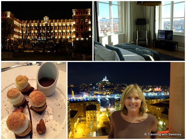 Intercontinental Hotel Dieu: Prestige Suite views, dessert at Les Fenetres, and the lovely touches, Marseille