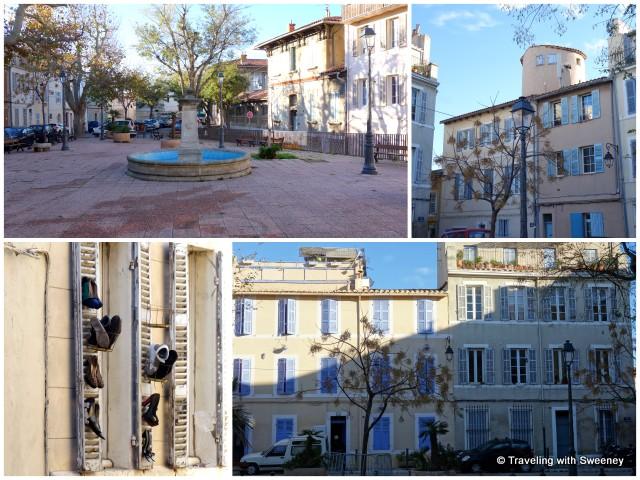 """Fountain and buildings on Place des Moulins, Le Panier, Marseille, France"""