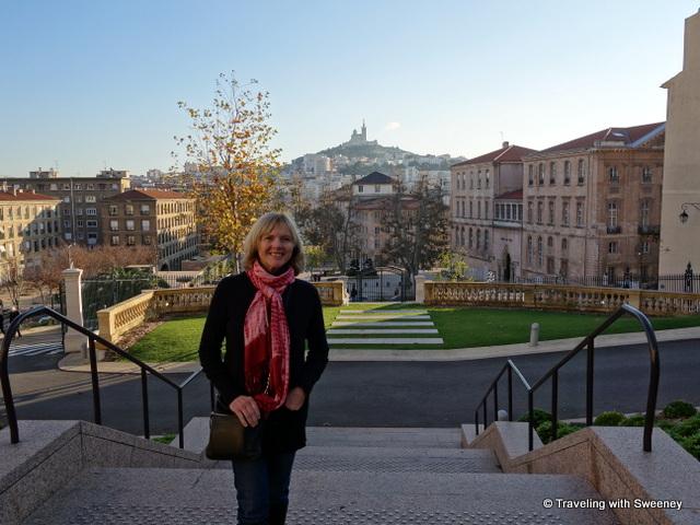 """Beautiful backdrop of Marseille's Eiffel Tower, Basilica Notre Dame de la Garde, Marseille, France"""