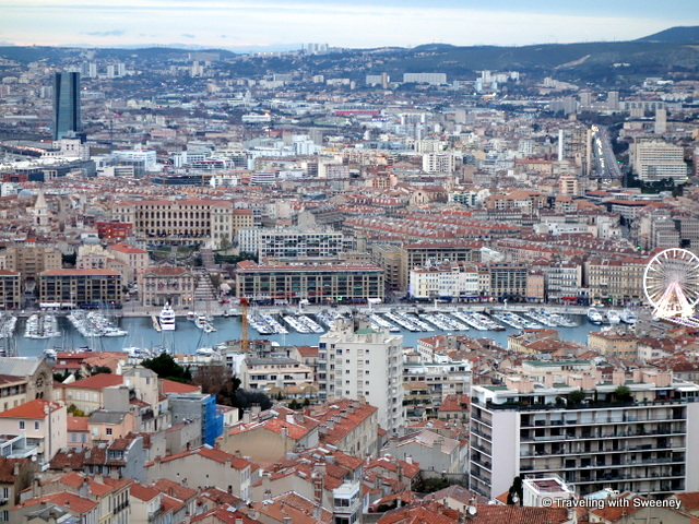 """View of Marseille from the highest point in the city at the Basilica Notre Dame de la Garde"""