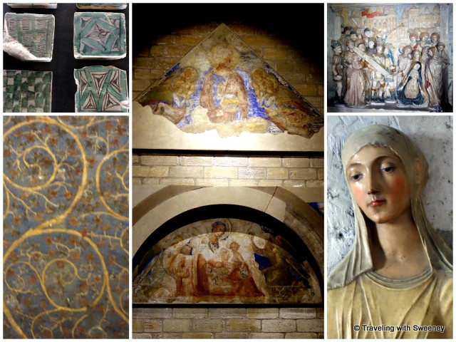 Mosaic tiles, frescoes and sculptures: St. Catherine of Siena (bottom right) was instrumental in bringing the papacy back to Rome