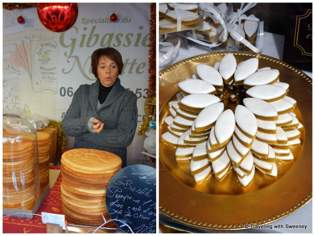 Christmas market vendor talking about pompe a l'huile (an olive bread also known as gibassier), Calissons d'Aix pastries