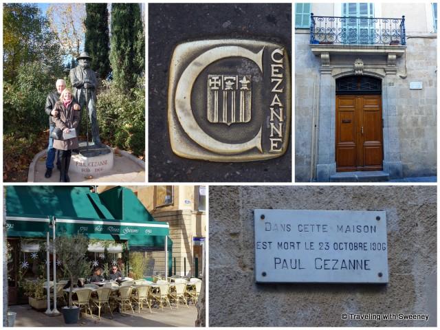With Mr. TWS at the Cézanne statue, apartment were Cézanne died, Les Deux Garçons