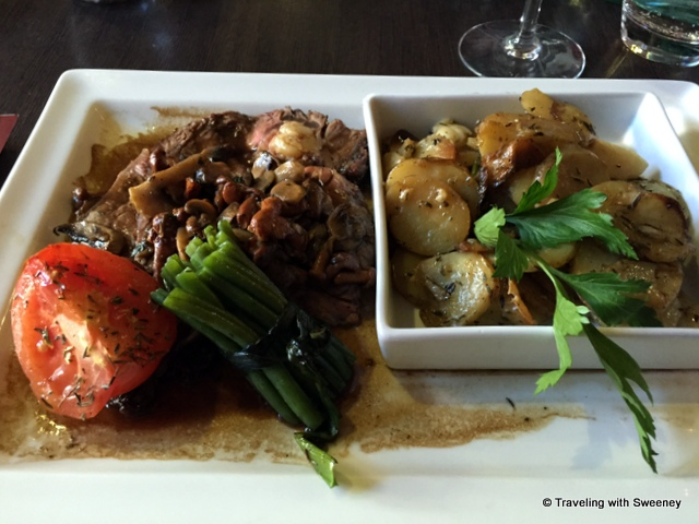 Beef entree and La Mado special potatoes at Restaurant La Mado