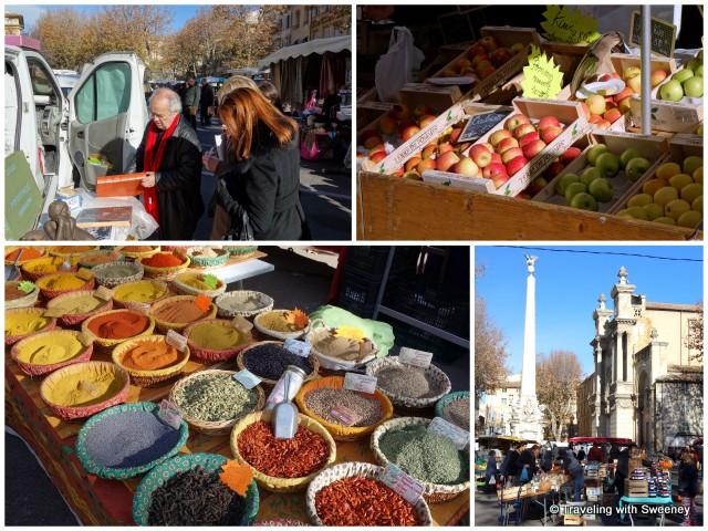 Place des Prêcheurs market: Richard Vidal-Naquet (top left), fresh fruit and spices