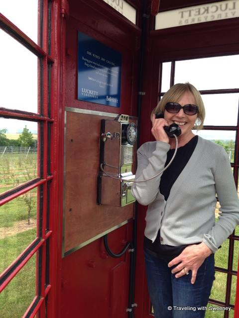 Authentic British telephone booth in the vineyards of Luckett Winery in Nova Sctia