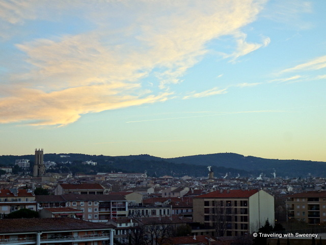 Early morning view of Aix-en-Provence from our room at the Renaissance Hotel.