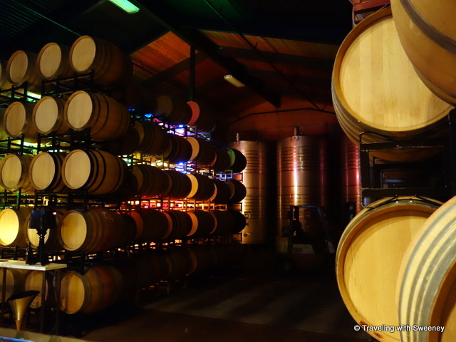 Wine barrels at DeLoach Winery
