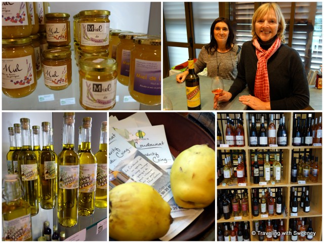 From top left: honey, Sautel (an apéritif), Wines of Provence, coing (quince), and olive oils