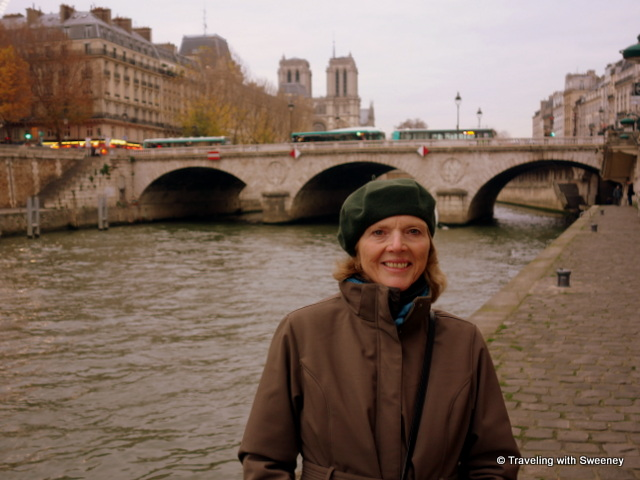 Walking along the Seine, Notre Dame in the distance