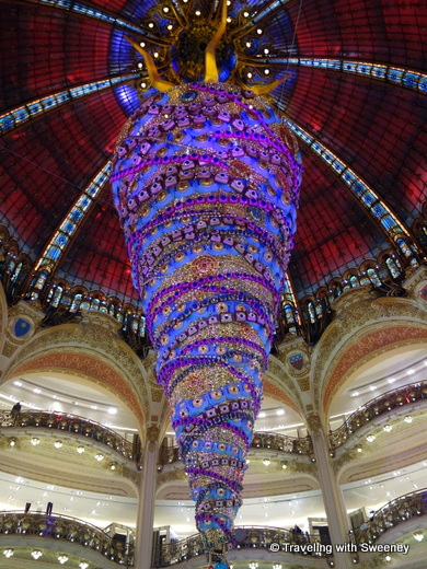 Elaborate Christmas decor at Galeries Lafayette, Paris