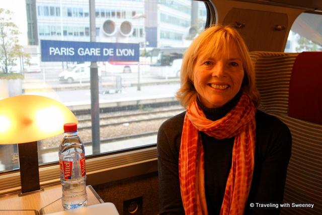 On the TGV train at Paris Gare de Lyon