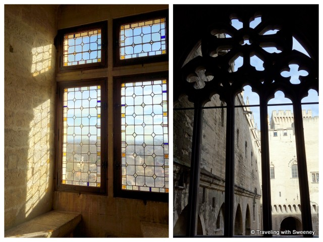Windows overlooking the Provençal countryside; Window of Indulgences in the Palais des Papes in Avignon, France