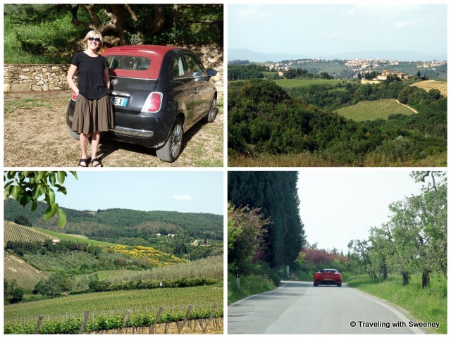 Our rental car, some of the beautiful scenery, and a not uncommon Ferari