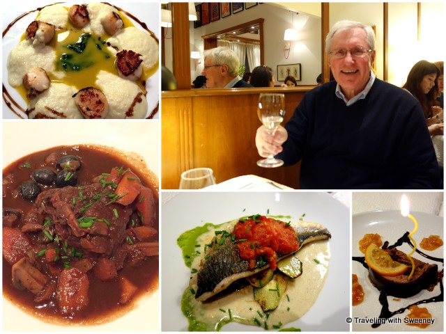 Celebrating a birthday at La Fourchette: Scallops St. Jacques, Beef Stew Avignonnaise, sea bream, and chocolate mouse cake