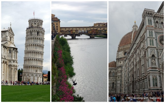 Famous attractions: Leaning Tower of Pisa; Ponte Vecchio and Il Duomo di Firenze in Florence