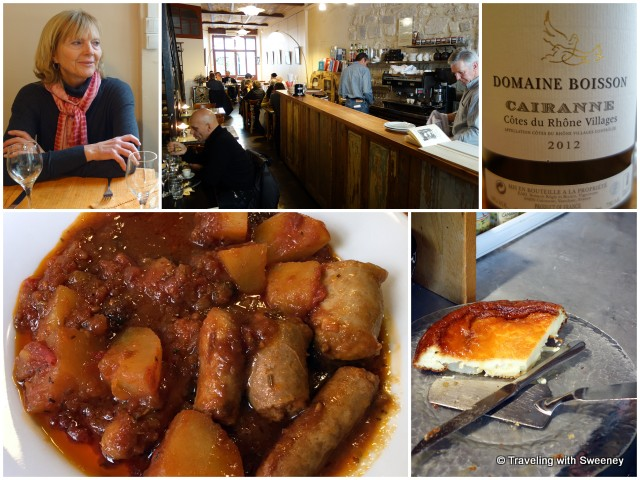 Hearty lunch of sausage stew and cheesecake at Librairie L'Ami Voyage, a brasserie in Avignon, France