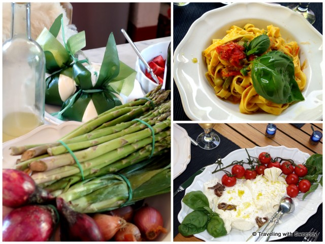 Lunch prepared by Alice Dami at La Fattoria: Fresh egg pasta with asparagus, burrata with cherry tomatoes and anchovies
