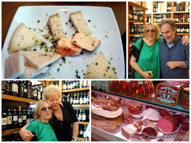 Indulging in Italian meats, cheeses, and Chianti while enjoying laughs and conversation at Enoteca Vino e Convivio with Alice, Lido, and Giuseppina