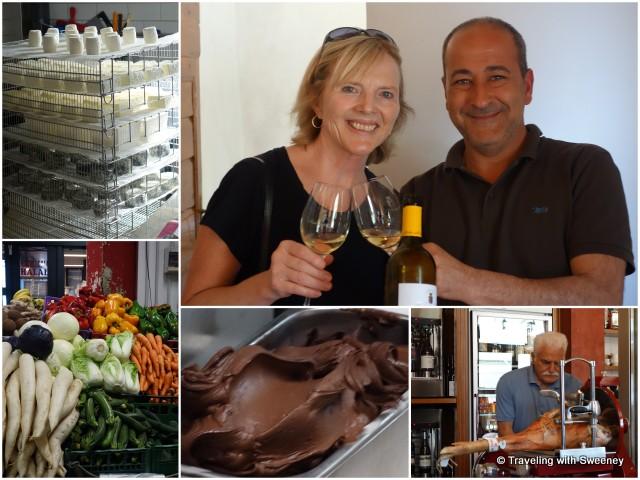 Tasty specialties of Tuscany - wine (Pasolini dell'Onda), ham (Enoteca e Convivio), gelato, cheese (Fattoria Corzano e Paterno), and produce