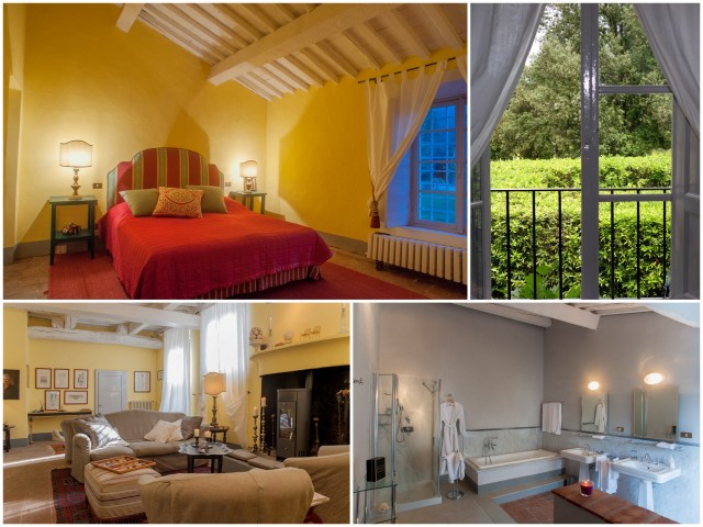 The lovely décor of and views from the rooms of La Fattoria