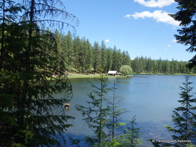 Lake and cabin view along the trail with Rugg's Outfitting, Superior, Montana