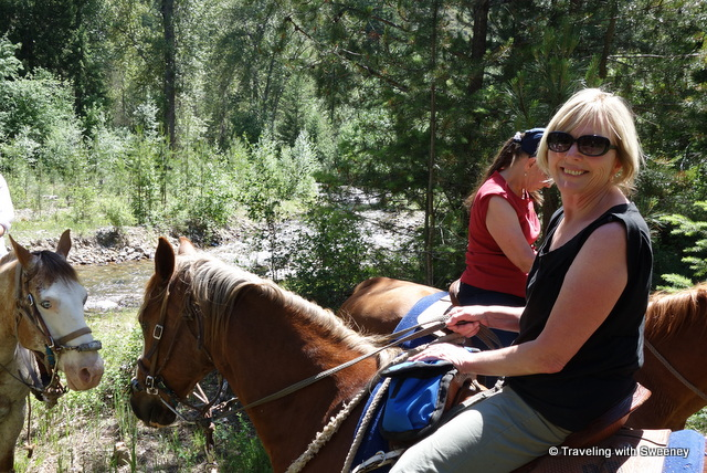 Ready to cross the creek while horseback riding with Rugg's Outfitting in Superior, Montana