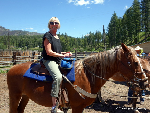 With a smile of eager anticipation, Sweeney sits on Hashbrown --- ready to ride. At Black Bear Ranch, Supierior , Montana