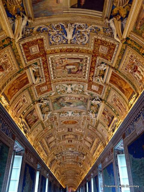 Golden ceiling in the Gallery of Maps